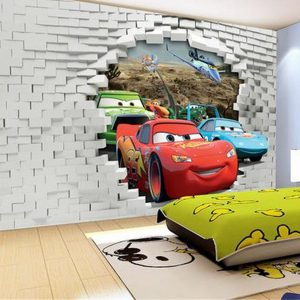 3d-wallpaper-Three-car-broken-walls