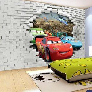 3d-wallpaper-Three-car-broken-walls